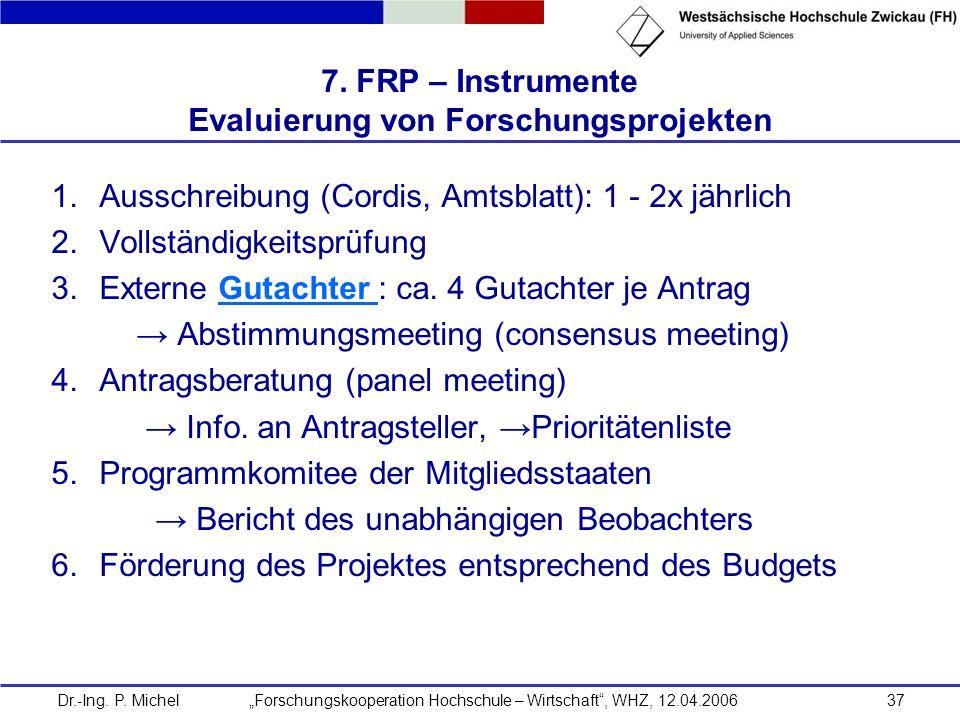 7. FRP – Instrumente Evaluierung von Forschungsprojekten