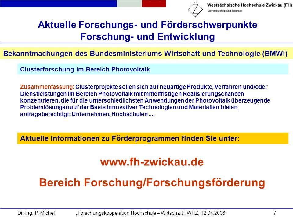 Aktuelle Forschungs- und Förderschwerpunkte Forschung- und Entwicklung