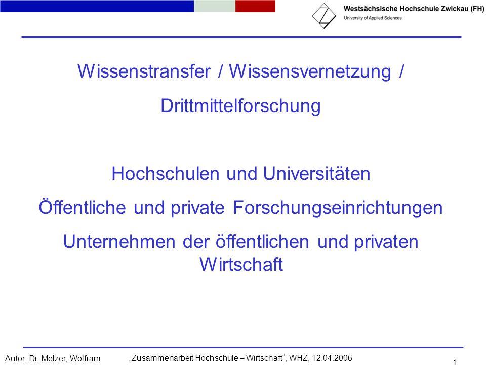 Wissenstransfer / Wissensvernetzung / Drittmittelforschung