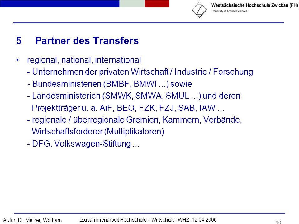 5 Partner des Transfers regional, national, international