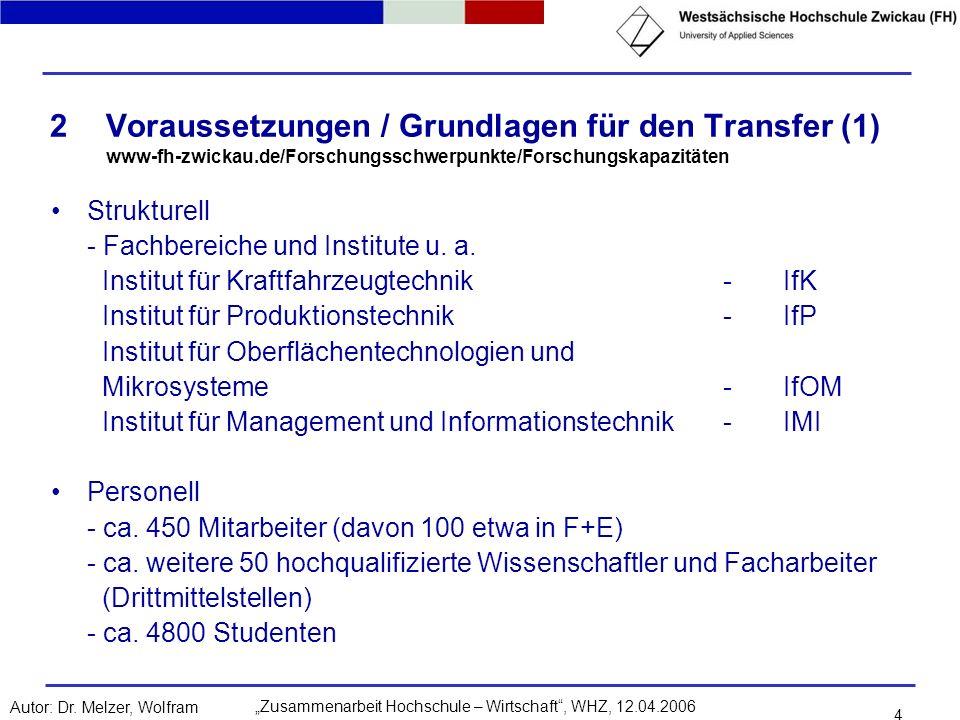 Voraussetzungen / Grundlagen für den Transfer (1) www-fh-zwickau