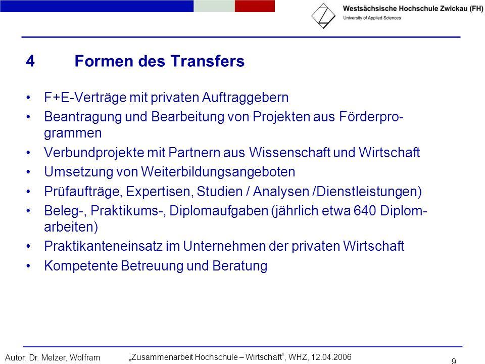 4 Formen des Transfers F+E-Verträge mit privaten Auftraggebern