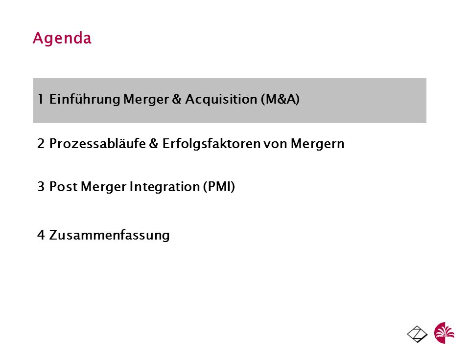 Agenda 1 Einführung Merger & Acquisition (M&A)