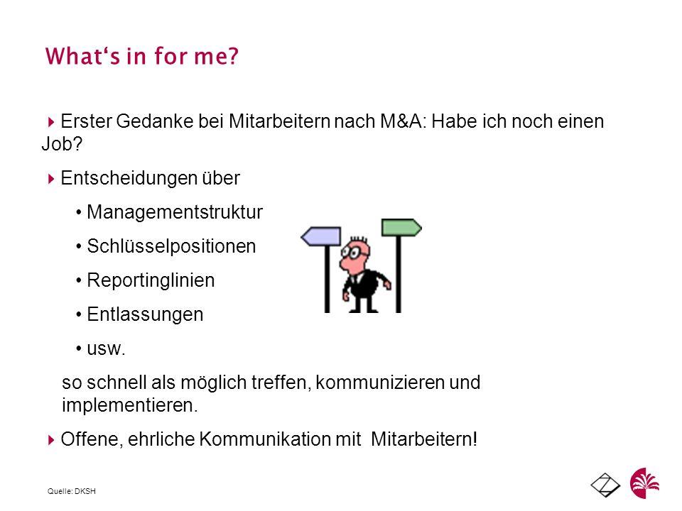 What's in for me Erster Gedanke bei Mitarbeitern nach M&A: Habe ich noch einen Job Entscheidungen über.