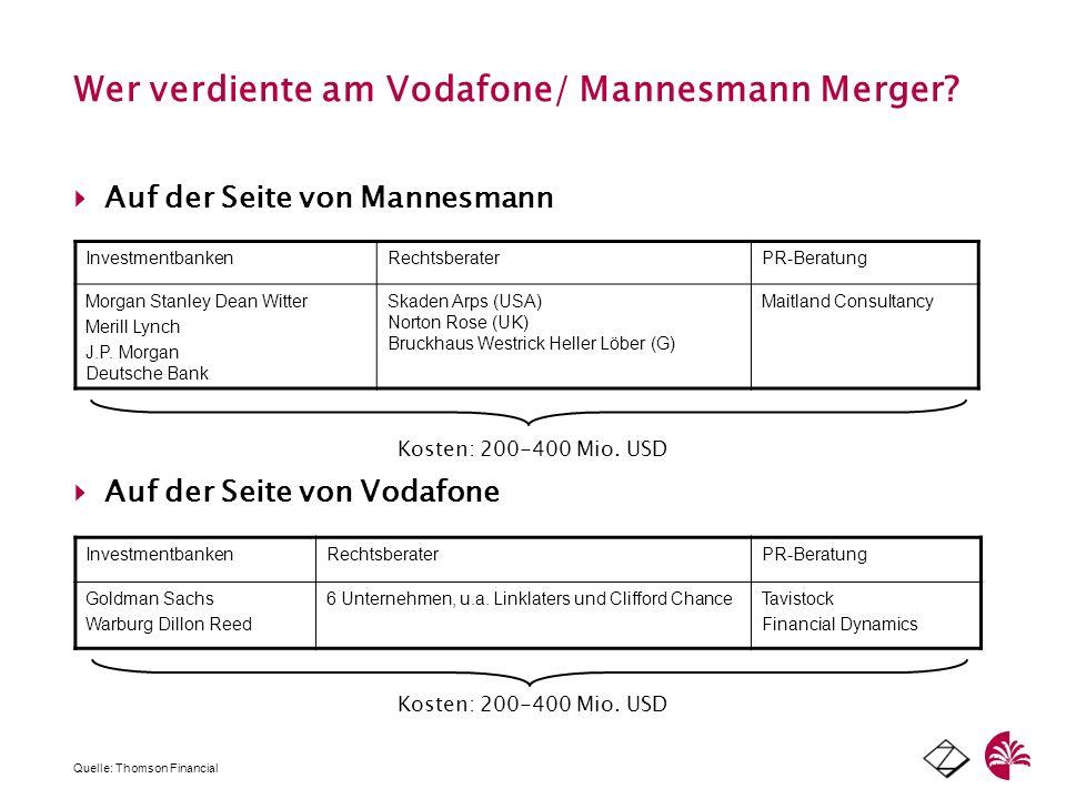 Wer verdiente am Vodafone/ Mannesmann Merger