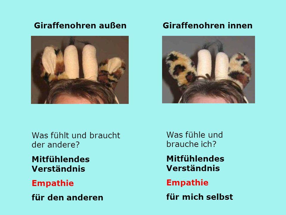 Giraffenohren außen Giraffenohren innen. Was fühlt und braucht der andere Mitfühlendes Verständnis.