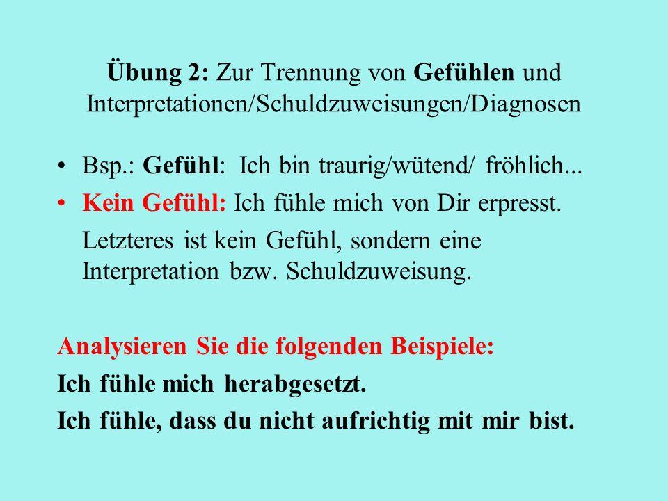Übung 2: Zur Trennung von Gefühlen und Interpretationen/Schuldzuweisungen/Diagnosen