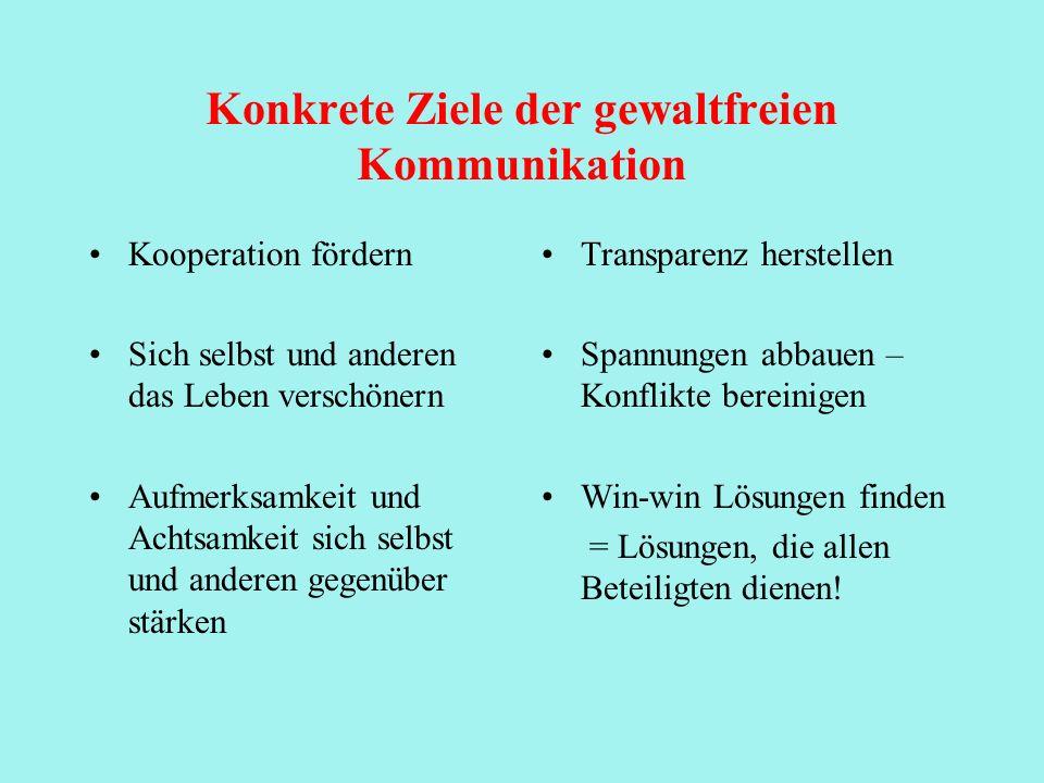 Konkrete Ziele der gewaltfreien Kommunikation
