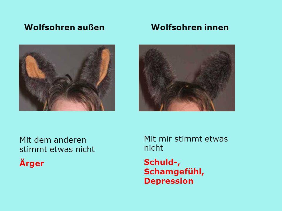 Wolfsohren außen Wolfsohren innen. Mit mir stimmt etwas nicht. Schuld-, Schamgefühl, Depression. Mit dem anderen stimmt etwas nicht.