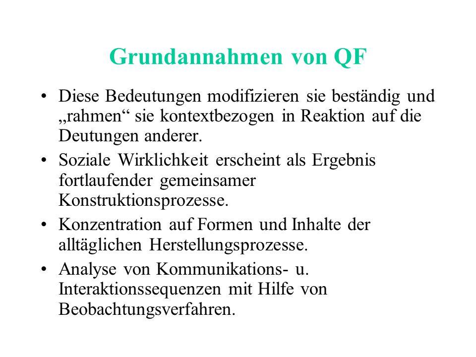 """Grundannahmen von QF Diese Bedeutungen modifizieren sie beständig und """"rahmen sie kontextbezogen in Reaktion auf die Deutungen anderer."""