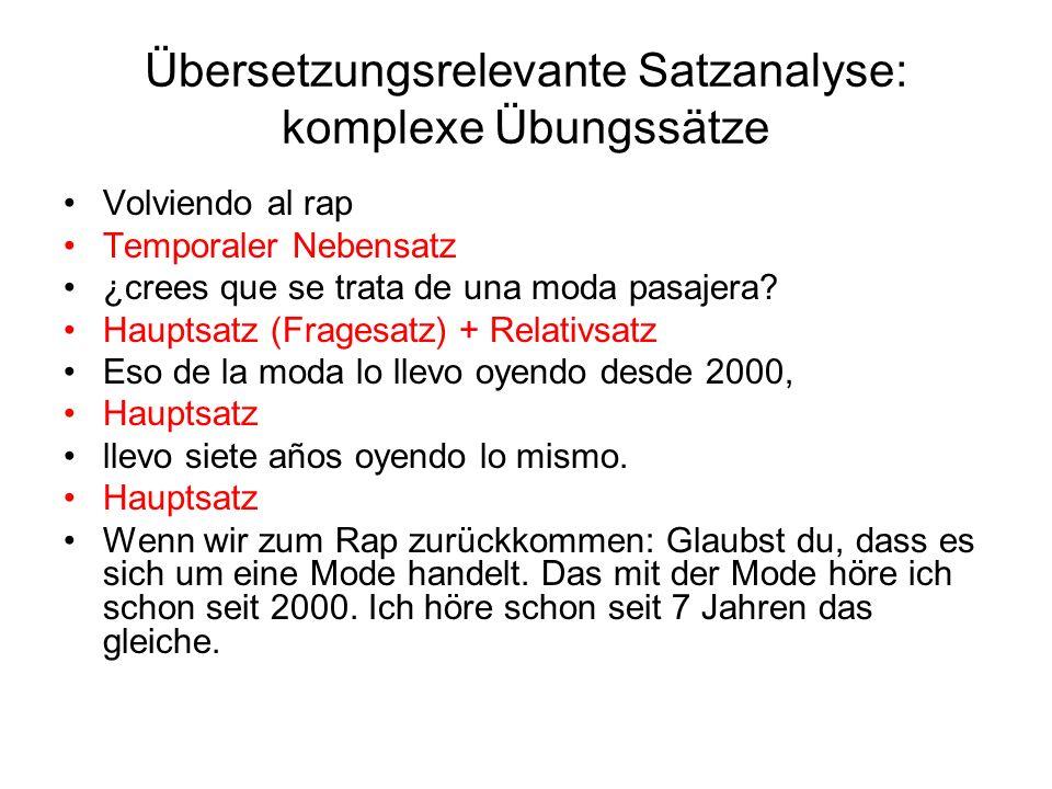 Übersetzungsrelevante Satzanalyse: komplexe Übungssätze