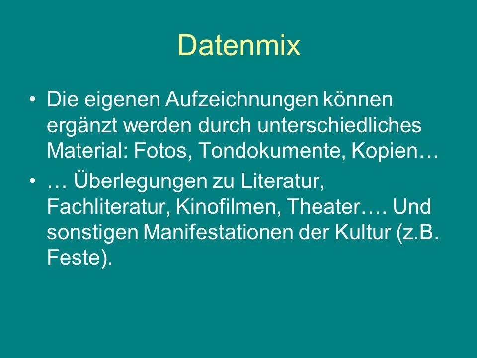 Datenmix Die eigenen Aufzeichnungen können ergänzt werden durch unterschiedliches Material: Fotos, Tondokumente, Kopien…