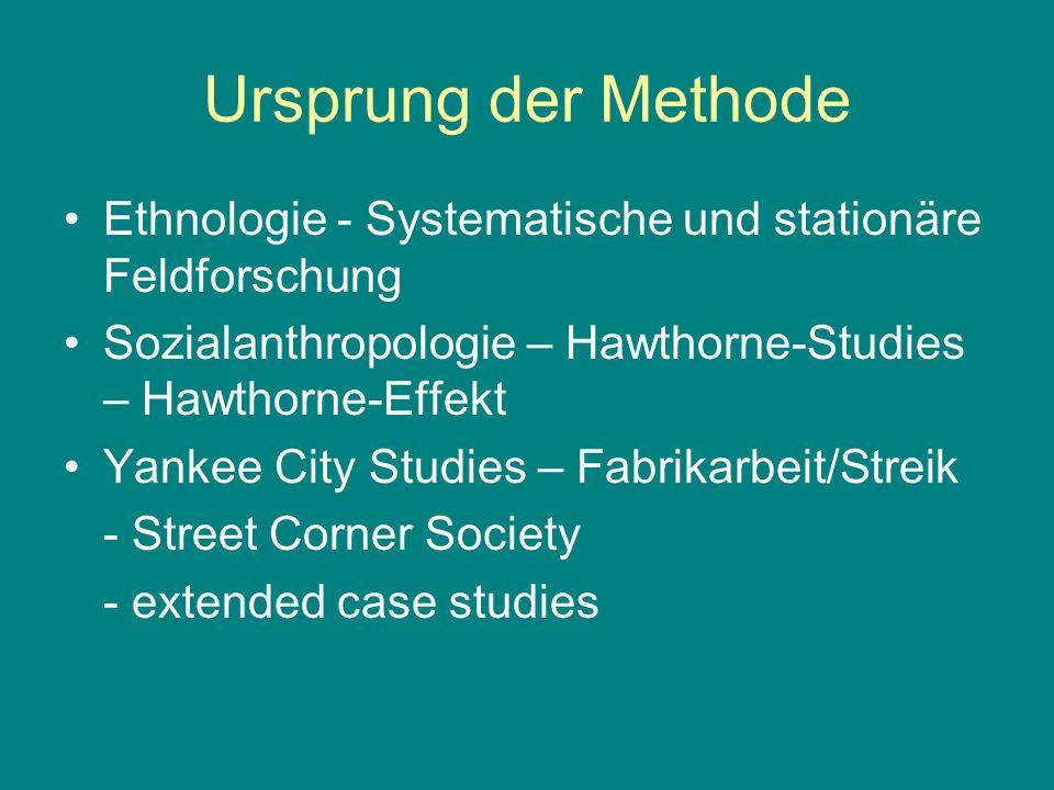 Ursprung der Methode Ethnologie - Systematische und stationäre Feldforschung. Sozialanthropologie – Hawthorne-Studies – Hawthorne-Effekt.