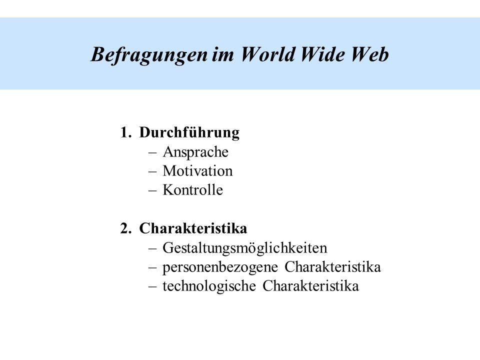 Befragungen im World Wide Web