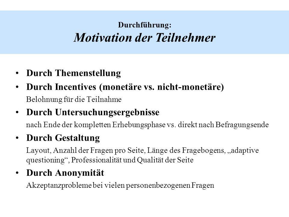 Durchführung: Motivation der Teilnehmer