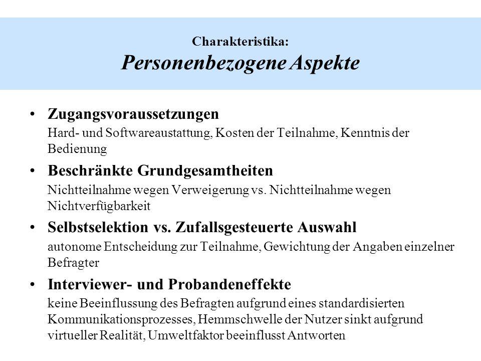 Charakteristika: Personenbezogene Aspekte