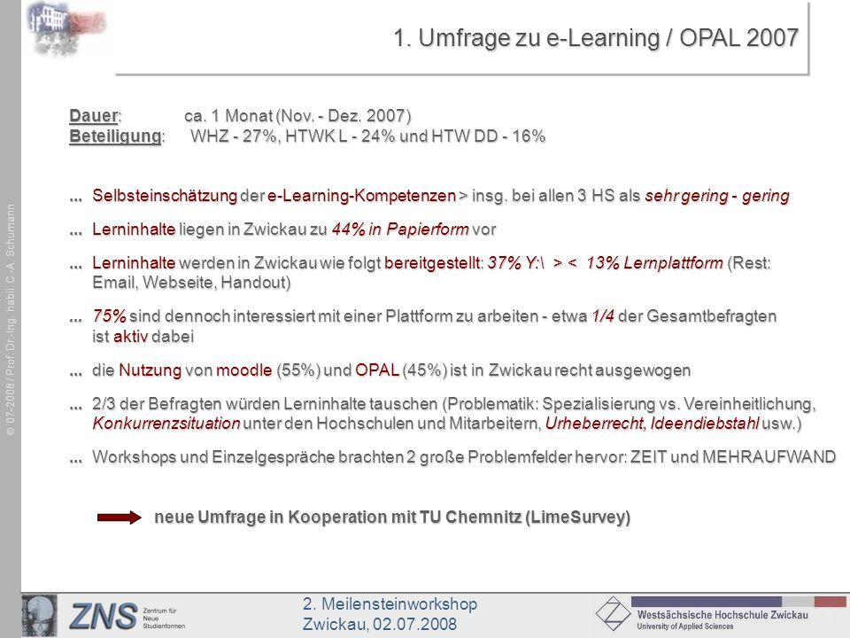 1. Umfrage zu e-Learning / OPAL 2007