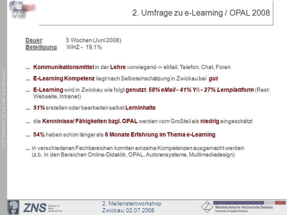2. Umfrage zu e-Learning / OPAL 2008