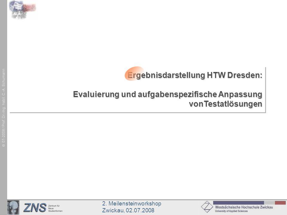 Ergebnisdarstellung HTW Dresden: Evaluierung und aufgabenspezifische Anpassung vonTestatlösungen