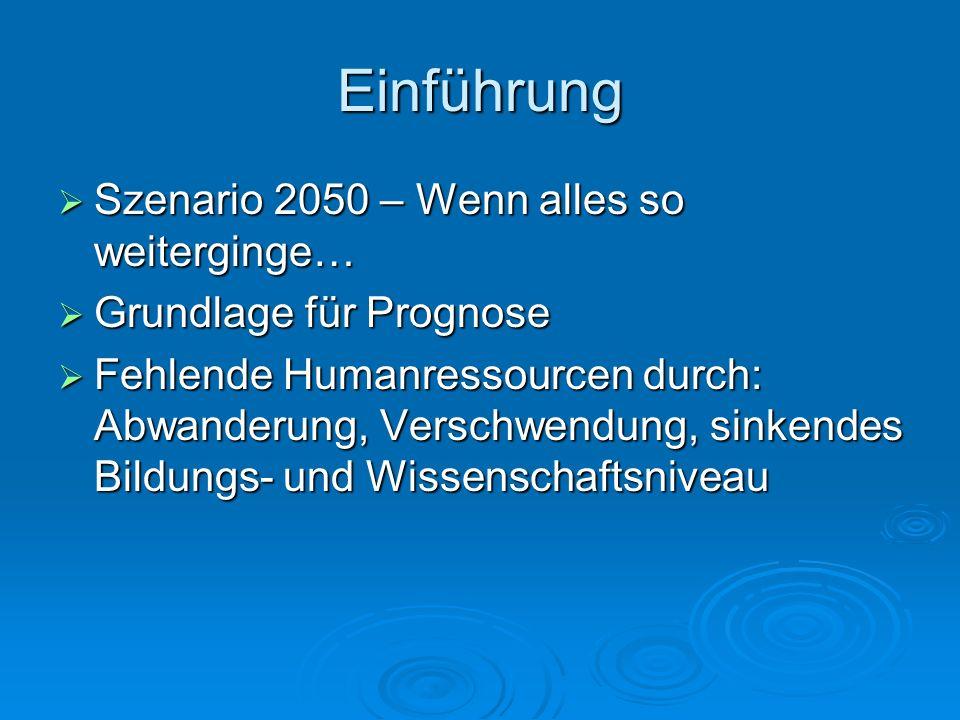 Einführung Szenario 2050 – Wenn alles so weiterginge…