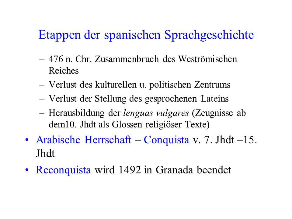 Etappen der spanischen Sprachgeschichte
