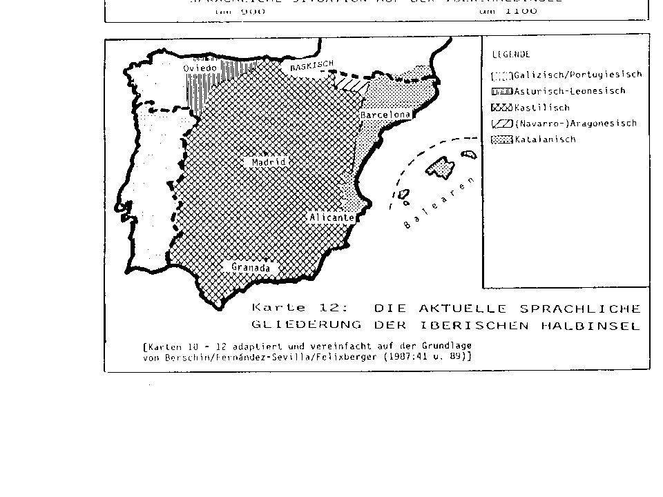 Die aktuelle sprachliche Gliederung der iberischen Halbinsel