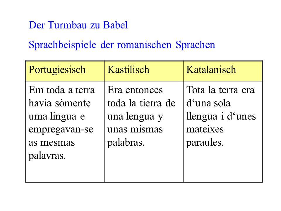 Der Turmbau zu Babel Sprachbeispiele der romanischen Sprachen. Portugiesisch. Kastilisch. Katalanisch.