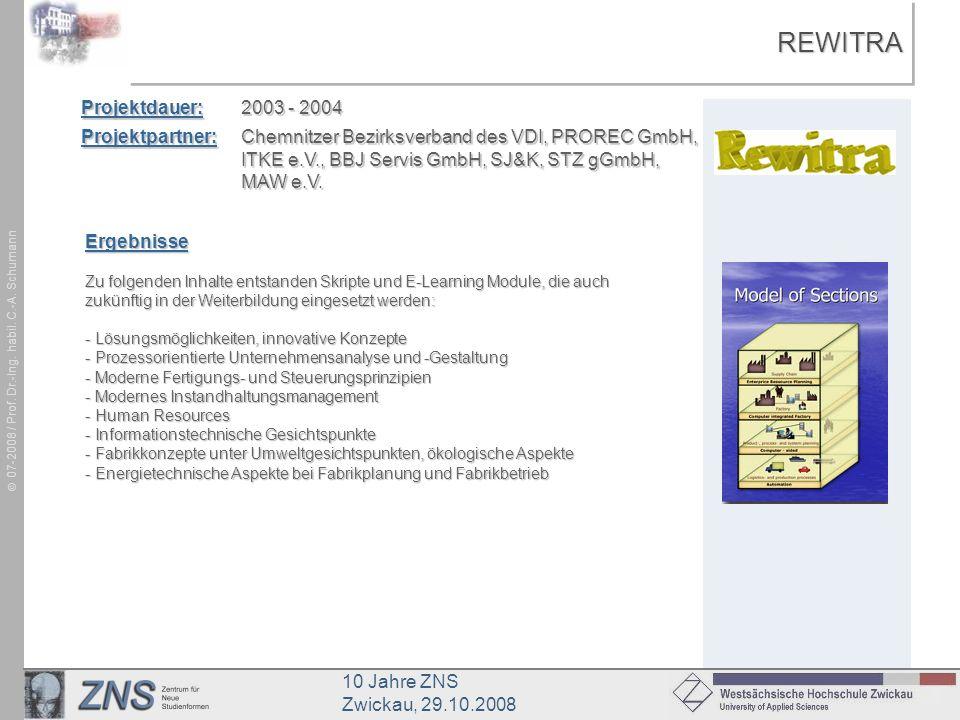 REWITRA Projektdauer: 2003 - 2004