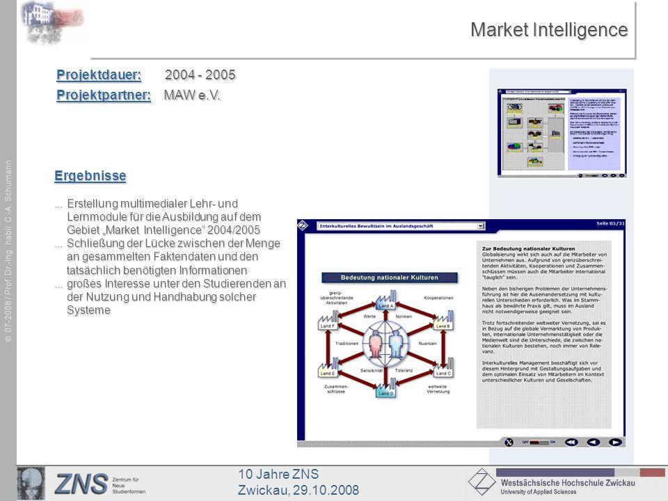 Market Intelligence Projektdauer: 2004 - 2005 Projektpartner: MAW e.V.