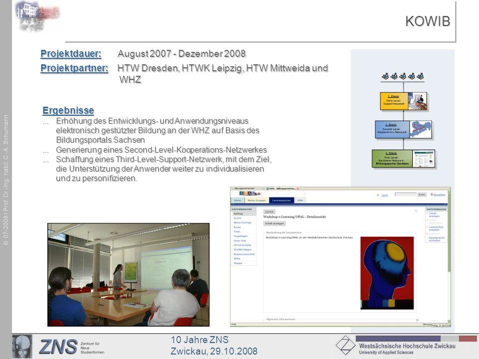 KOWIB Projektdauer: August 2007 - Dezember 2008