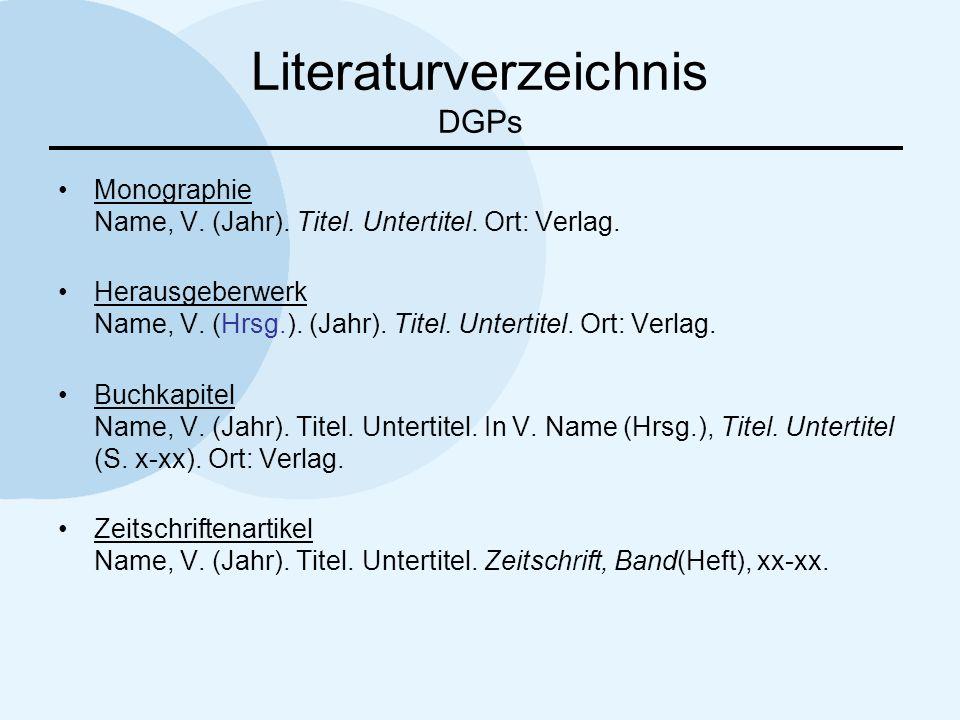 Literaturverzeichnis DGPs