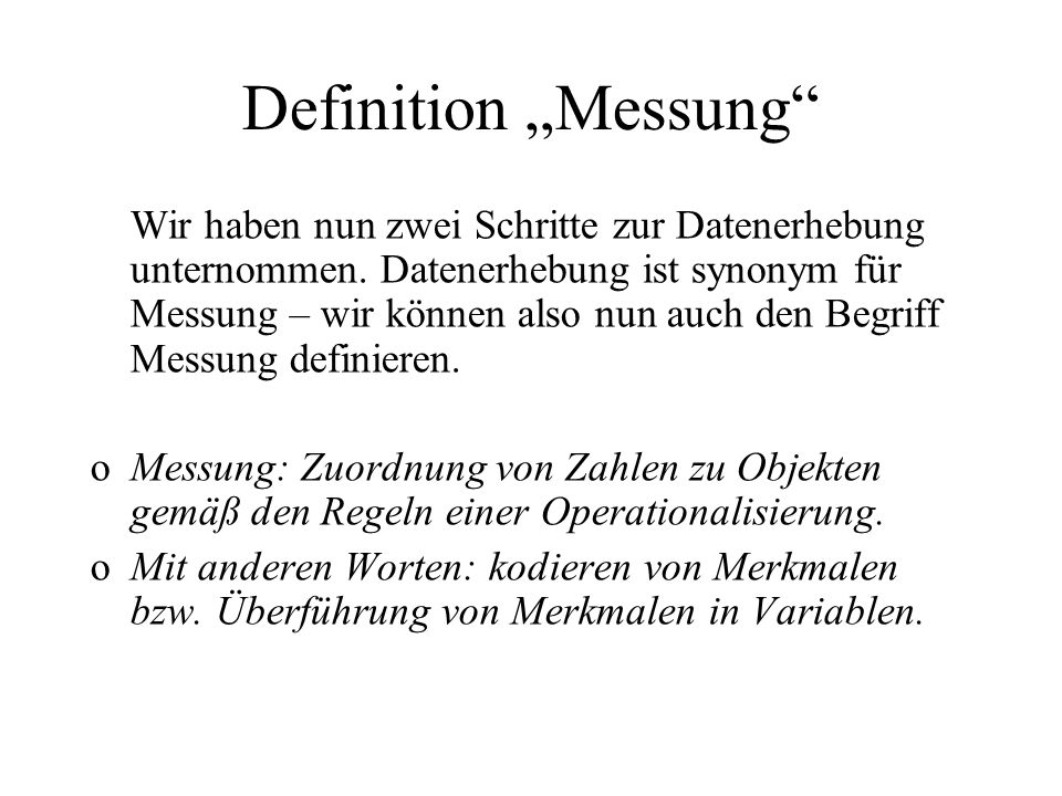 "Definition ""Messung"