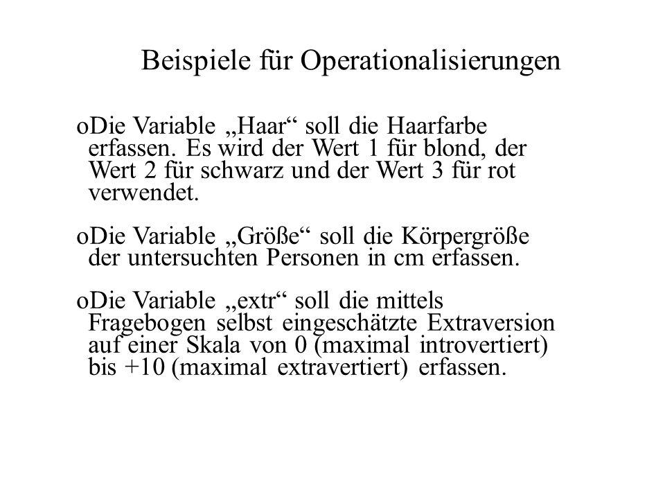 Beispiele für Operationalisierungen