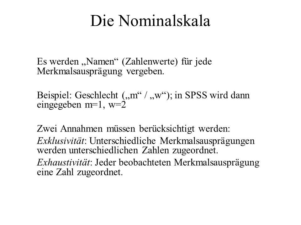 """Die Nominalskala Es werden """"Namen (Zahlenwerte) für jede Merkmalsausprägung vergeben."""