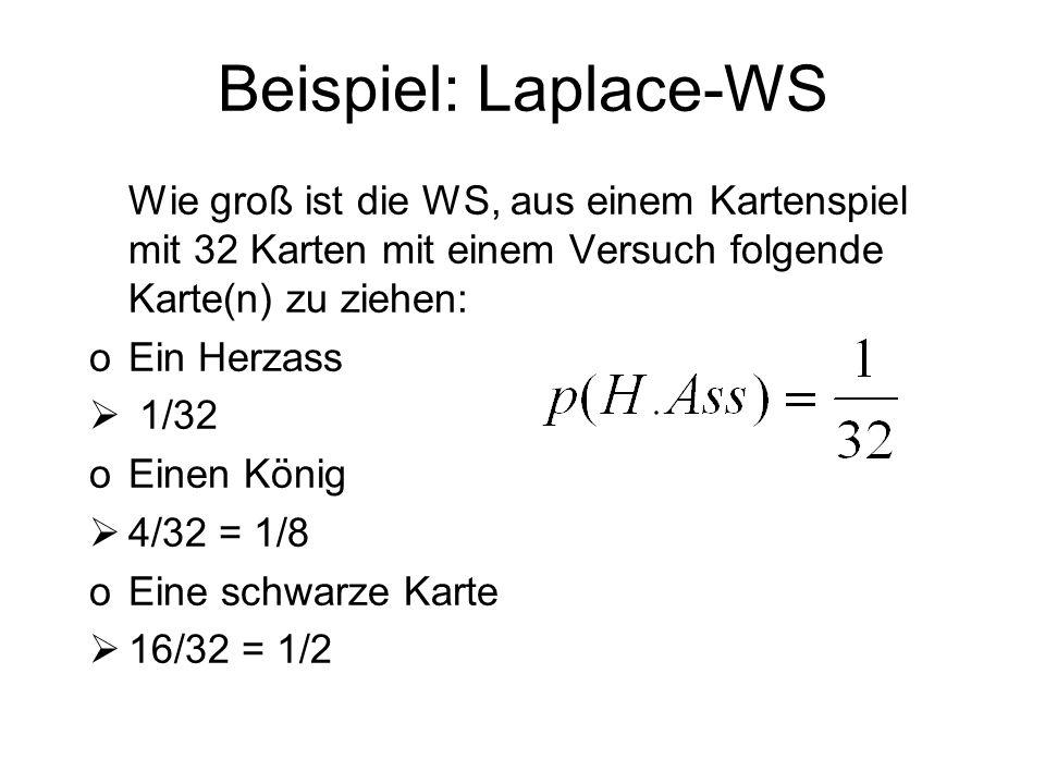 Beispiel: Laplace-WSWie groß ist die WS, aus einem Kartenspiel mit 32 Karten mit einem Versuch folgende Karte(n) zu ziehen: