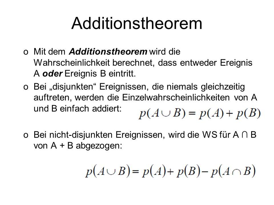 AdditionstheoremMit dem Additionstheorem wird die Wahrscheinlichkeit berechnet, dass entweder Ereignis A oder Ereignis B eintritt.
