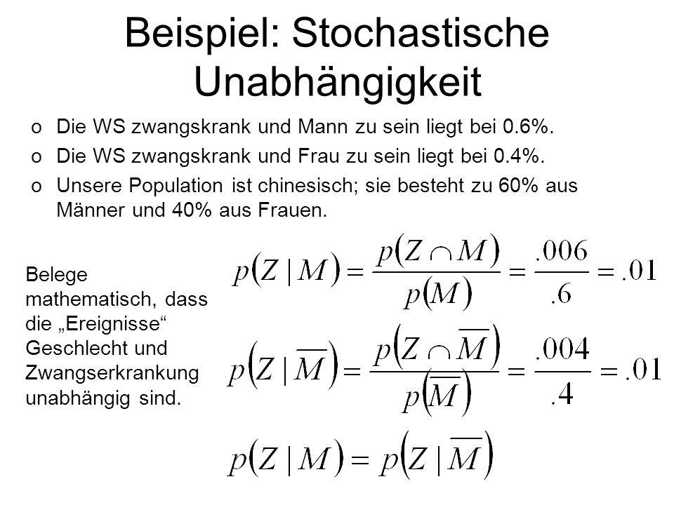 Beispiel: Stochastische Unabhängigkeit