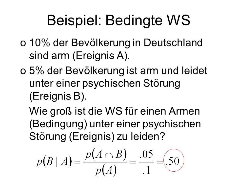 Beispiel: Bedingte WS 10% der Bevölkerung in Deutschland sind arm (Ereignis A).