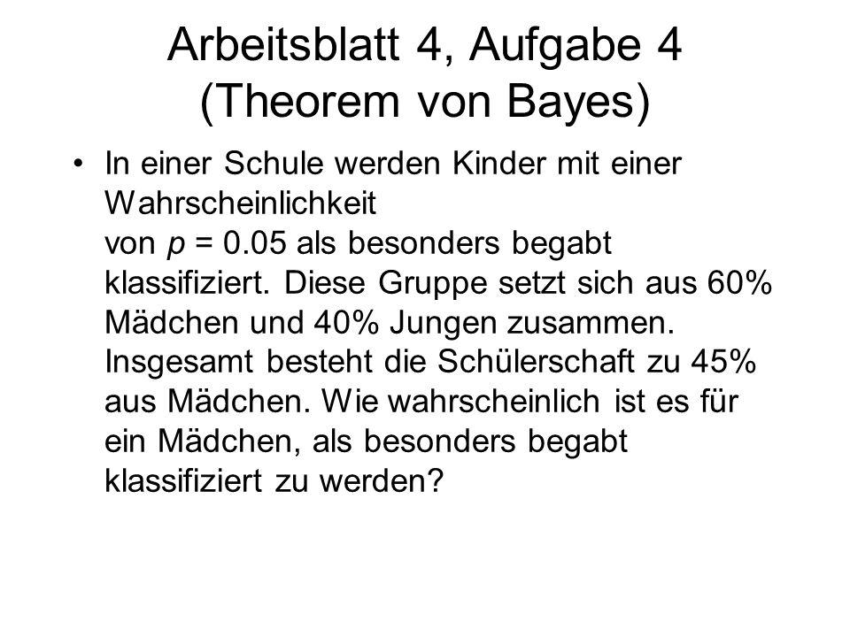 Arbeitsblatt 4, Aufgabe 4 (Theorem von Bayes)