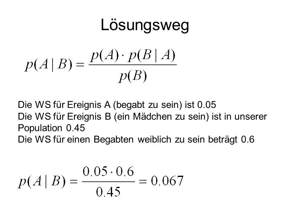 Lösungsweg Die WS für Ereignis A (begabt zu sein) ist 0.05