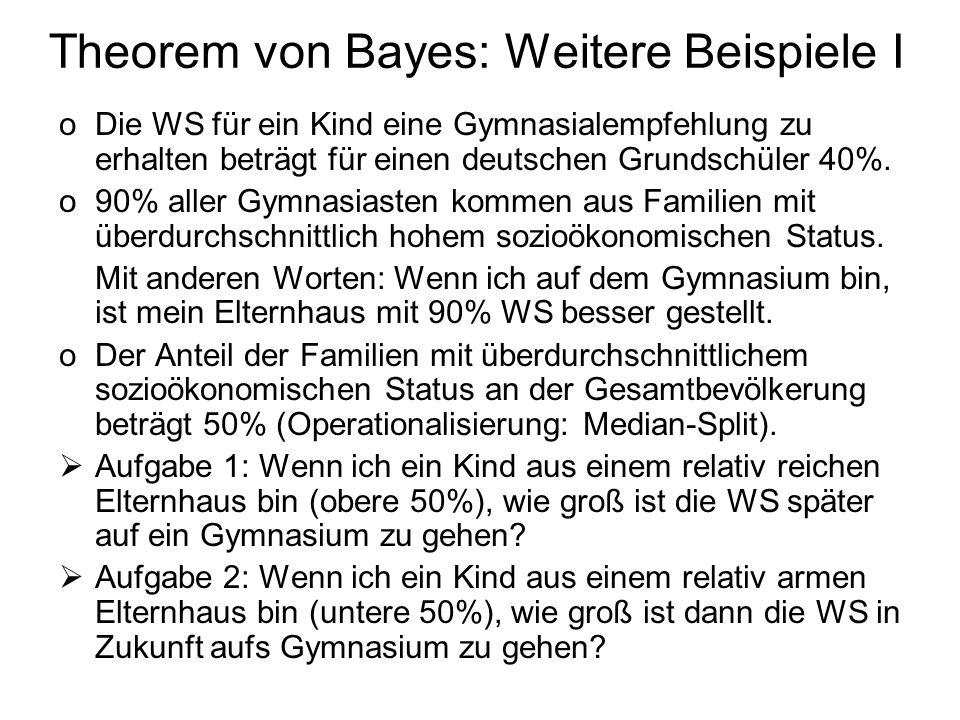 Theorem von Bayes: Weitere Beispiele I