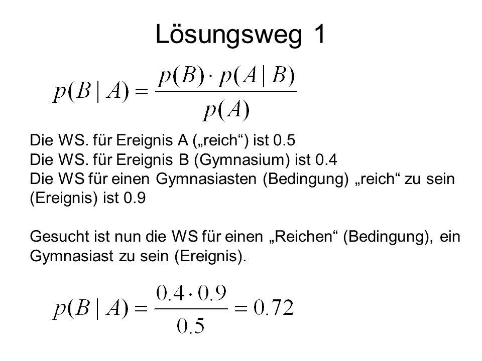 """Lösungsweg 1 Die WS. für Ereignis A (""""reich ) ist 0.5"""