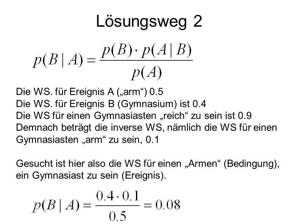 """Lösungsweg 2 Die WS. für Ereignis A (""""arm ) 0.5"""