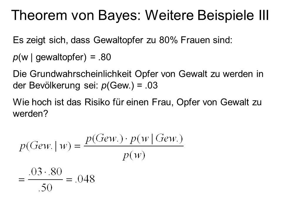 Theorem von Bayes: Weitere Beispiele III