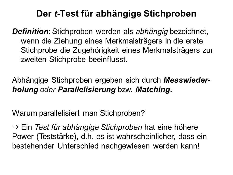 Der t-Test für abhängige Stichproben