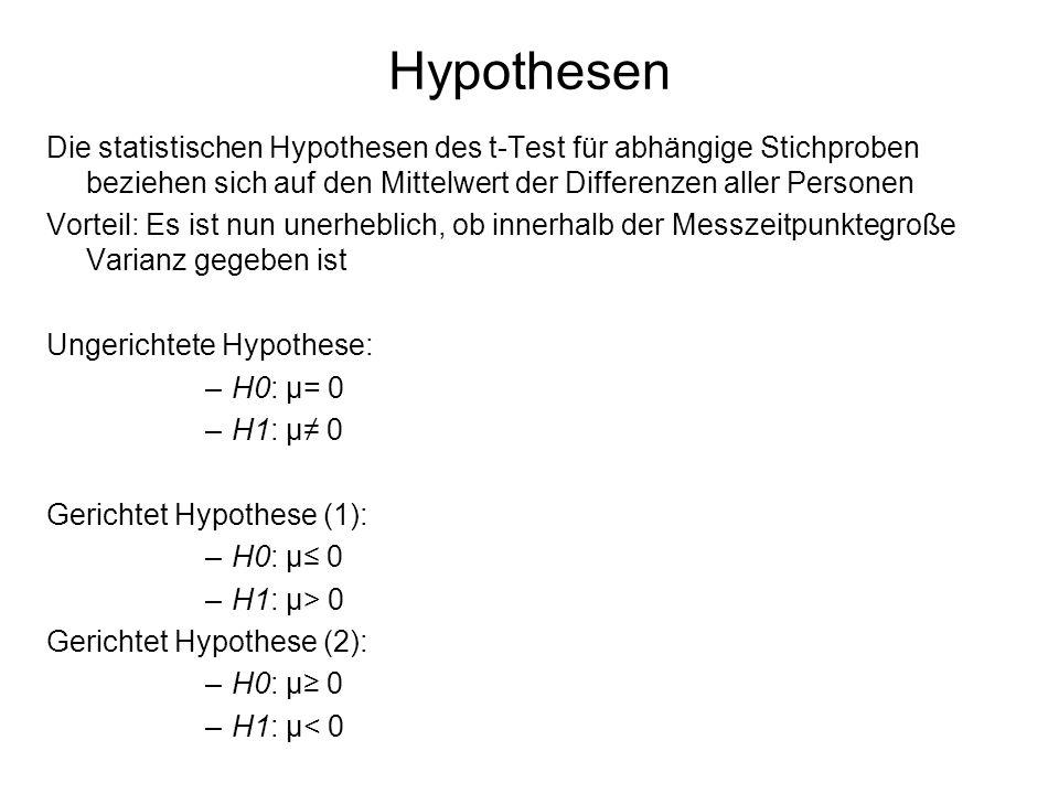 Hypothesen Die statistischen Hypothesen des t-Test für abhängige Stichproben beziehen sich auf den Mittelwert der Differenzen aller Personen.