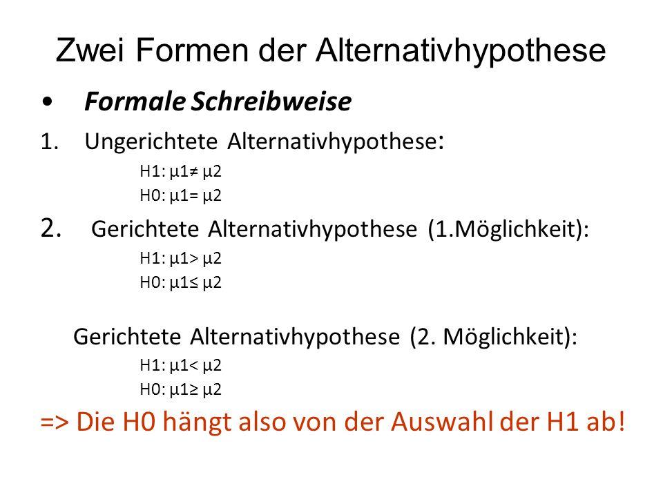 Zwei Formen der Alternativhypothese