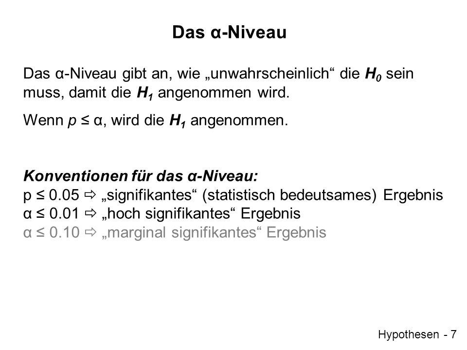 """Das α-Niveau Das α-Niveau gibt an, wie """"unwahrscheinlich die H0 sein muss, damit die H1 angenommen wird."""