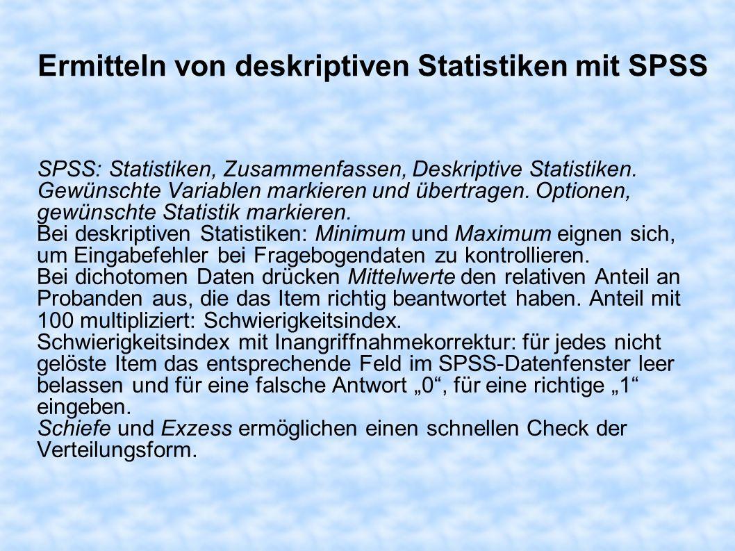 Ermitteln von deskriptiven Statistiken mit SPSS