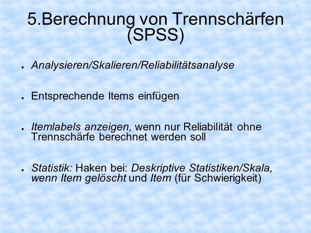 5.Berechnung von Trennschärfen (SPSS)